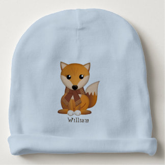 Cute autumn fox and custom name baby beanie