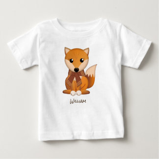 Cute autumn fox and custom name baby T-Shirt