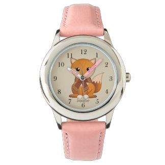 Cute autumn fox and custom name watch