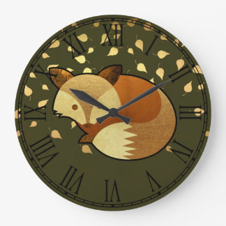 Cute Autumn Fox Large Clock