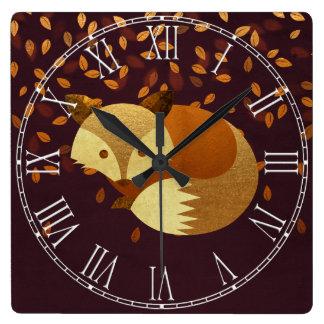 Cute Autumn Fox Square Wall Clock