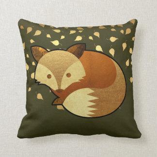 Cute Autumn Fox Throw Pillow