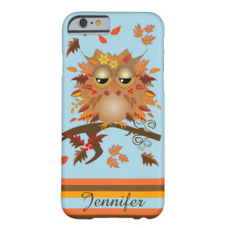 Cute Autumn owl and custom Name Barely There iPhone 6 Case