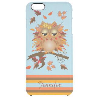 Cute Autumn owl and custom Name Clear iPhone 6 Plus Case