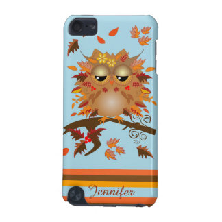 Cute Autumn owl and custom Name iPod Touch (5th Generation) Covers