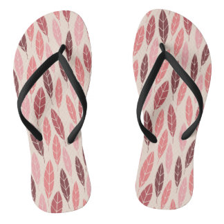 Cute autumn pink and red leaves pattern flip flops