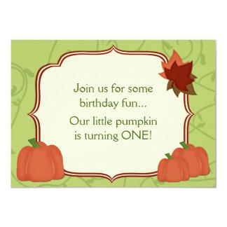 "Cute Autumn Pumpkin 1st Birthday Party Invitation 4.5"" X 6.25"" Invitation Card"