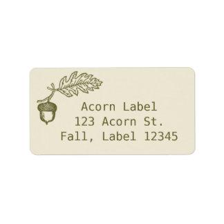 Cute Autumn Retro Green and Beige Acorn Address Label