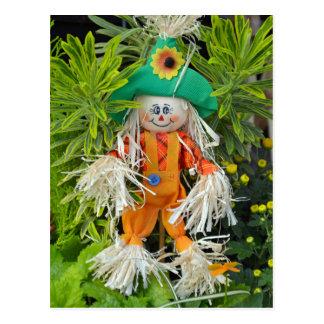 Cute autumn scarecrow decoration postcard