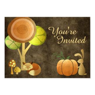 Cute Autumn Woodland Animals Birthday Invitation