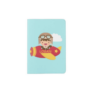 Cute Aviator Boy Aeroplane Adventure For Boys Passport Holder