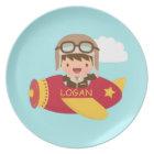 Cute Aviator Boy Aeroplane Adventure For Kids Plate
