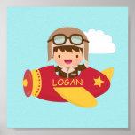 Cute Aviator Boy Aeroplane Boys Room Decor Poster