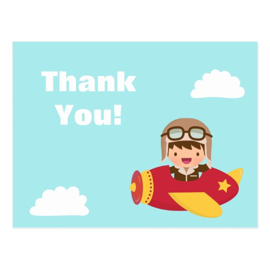 Cute Aviator Boy Aeroplane Thank You Greeting Postcard