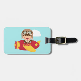 Cute Aviator Boy Airplane Adventure For Boys Luggage Tag