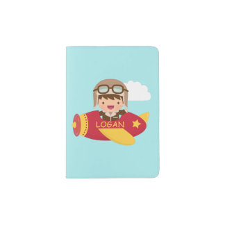 Cute Aviator Boy Airplane Adventure For Boys Passport Holder