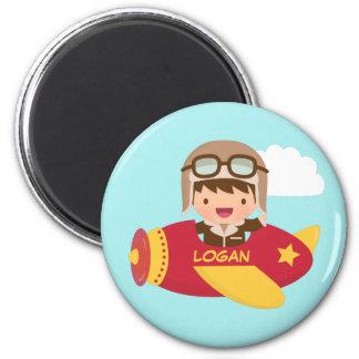Cute Aviator Boy Airplane Adventure For Kids Magnet