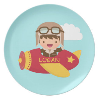 Cute Aviator Boy Airplane Adventure For Kids Plate