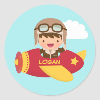 Cute Aviator Boy Airplane Adventure For Kids Round Sticker