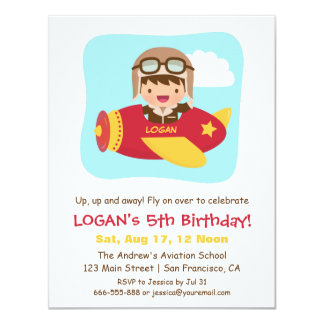 Cute Aviator Boy Airplane Birthday Party 11 Cm X 14 Cm Invitation Card