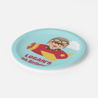 Cute Aviator Boy Airplane Birthday Party 7 Inch Paper Plate
