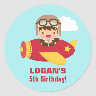Cute Aviator Boy Airplane Birthday Party Round Sticker