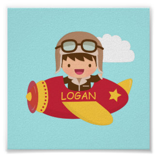 Cute Aviator Boy Airplane Boys Room Decor Poster