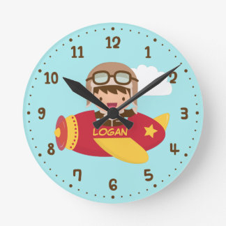 Cute Aviator Boy Airplane Kids Room Decor Wall Clocks