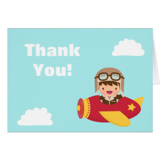 Cute Aviator Boy Airplane Thank You Greeting Card