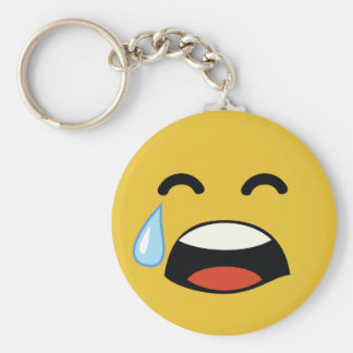 Cute aww don't cry emoji basic round button key ring
