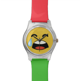 Cute aww don't cry emoji wristwatch
