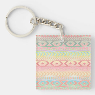 Cute Aztec Influenced Pattern in Pastel Colors Double-Sided Square Acrylic Key Ring