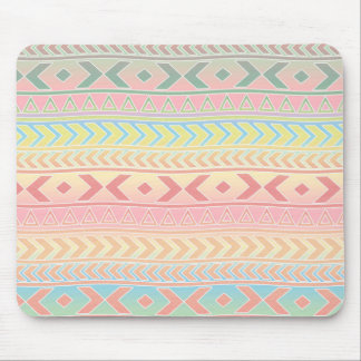 Cute Aztec Influenced Pattern in Pastel Colors Mouse Pad