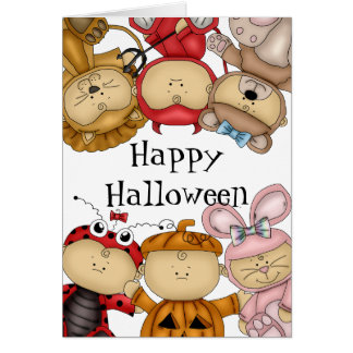 Cute Babies Happy Halloween Greeting Card
