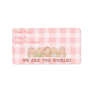 Cute Babies Pink Return Address or Gift Tags! Address Label