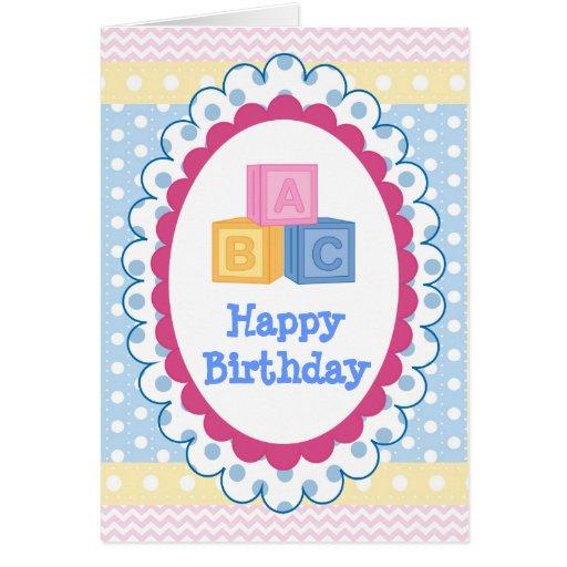 Cute Baby ABC Polkadot Birthday Greeting Card