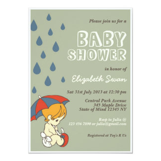 Cute Baby and Umbrella Rain Baby Shower Card Green Personalized Invites