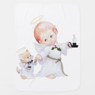 Cute Baby Angel And Cat Baby Blanket
