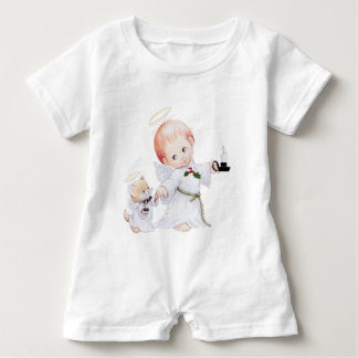 Cute Baby Angel And Cat Baby Bodysuit