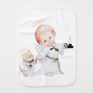 Cute Baby Angel And Cat Burp Cloth