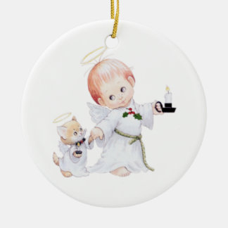 Cute Baby Angel And Cat Christmas Ornament