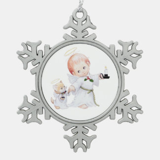 Cute Baby Angel And Cat Snowflake Pewter Christmas Ornament