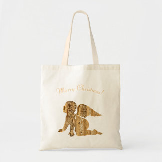 Cute Baby Angel Gold Merry Christmas Holiday Gifts Tote Bag