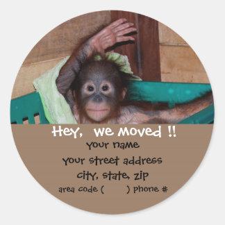 Cute Baby Animal Return Address Labels Round Sticker