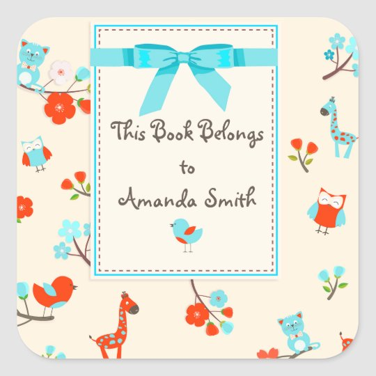 Cute Baby Animals and Flowers Book Plate Sticker