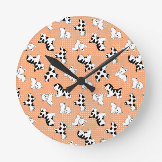 Cute Baby Animals in Peach Round Wall Clock