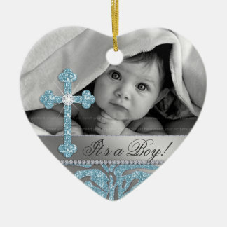 Cute Baby Baptism Cross Birth Announcement Zebra Christmas Ornament