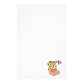 Cute Baby Bear Admiring Butterfly Personalised Stationery