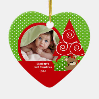 Cute Baby Bear Girl Photo First Christmas Ornament