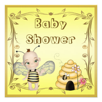 Cute Baby Bee Beehive Baby Shower Invites